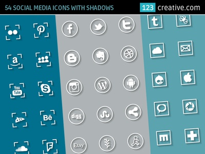 54 Social media icons with shadows
