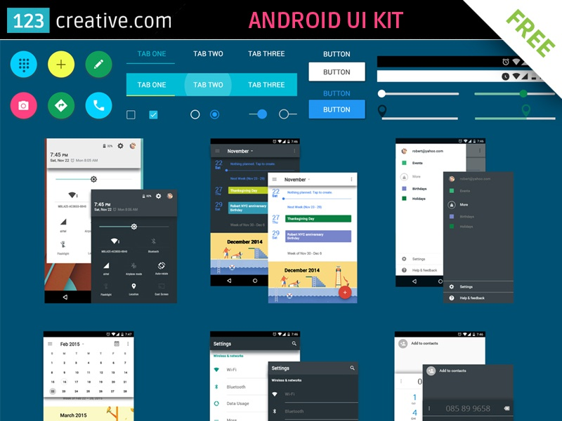 Android UI Kit Free Download by 123creative on Dribbble