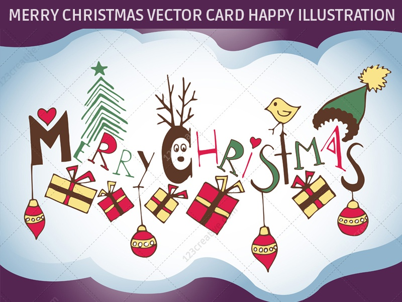 Merry Christmas vector illustration, Christmas Greeting card by ...