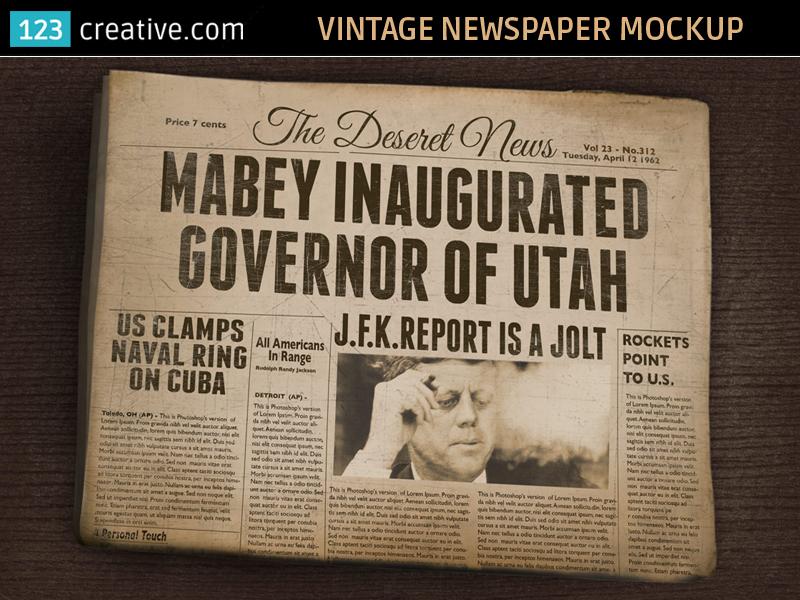 Vintage Newspaper Mockup Old Folded Newspaper By 123creative