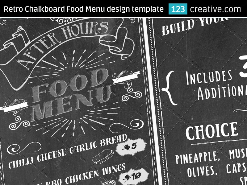 Retro Chalkboard Food Menu Design Template PSD Snack Pizza Flyer Restaurant Poster