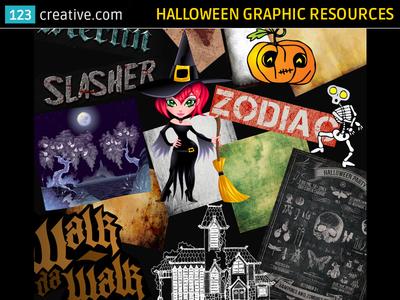 Halloween graphics (vectors, textures, Photoshop styles, fonts)
