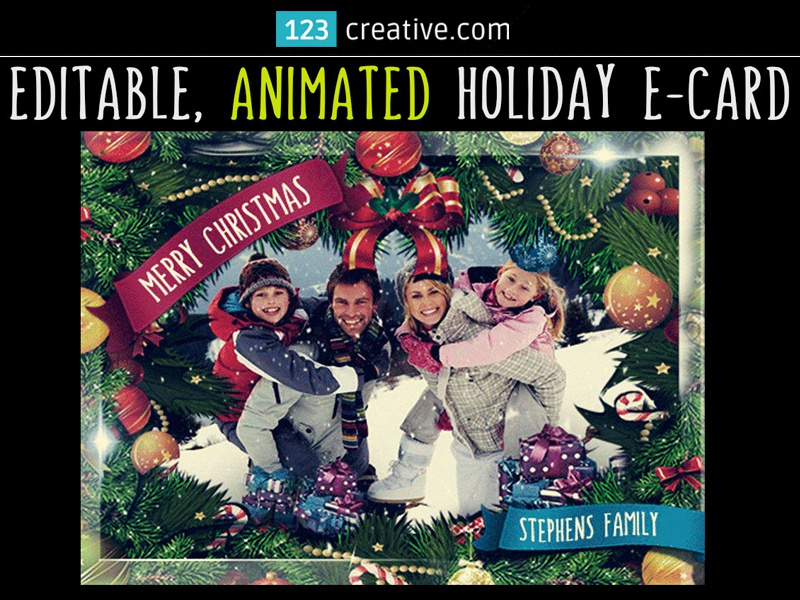 Animated Christmas Card Template GIF with falling snow by ...