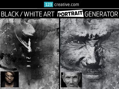 Black white art portrait generator in photoshop