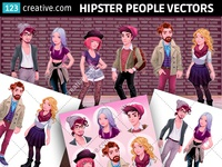 Hipster character vectors - Hipster boy and girl fashion