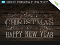 FREE Printed Logo on wood Mock-up template