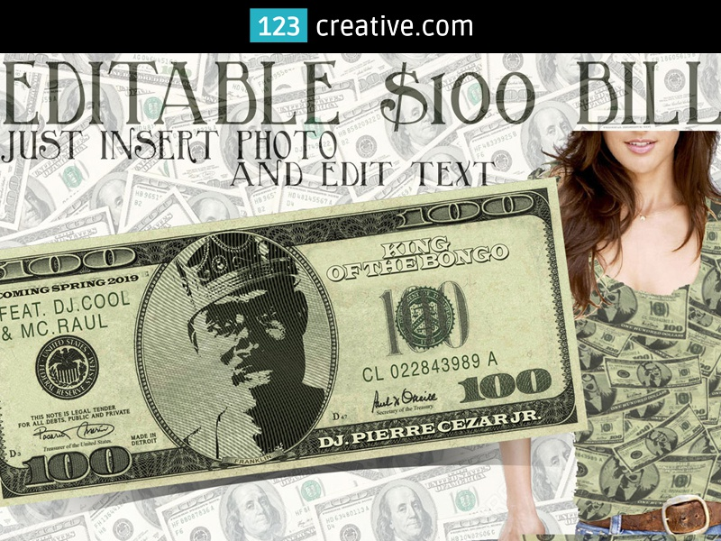 dollar bill mockup template psd editable face photo and text by