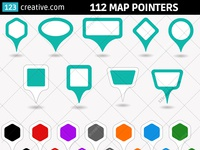 112 Map pointer vectors (round, rectangle, hexagon, square)