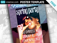 Free Spring party card template PSD