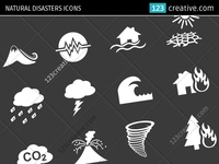 Natural disasters icons - environmental icon set