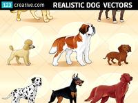 Realistic dog vector pack - Dalmatian, Dobermann, Poodle
