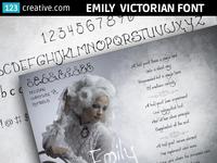 Emily Victorian font - elegant, handwritten, decorative typeface
