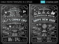Chalk Poster in 3 styles - Halloween, New Year's Eve, and Menu