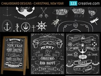 Chalkboard design templates for Christmas and New Year poster