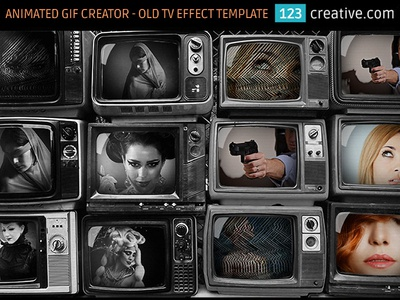 Animated GIF creator in Photoshop - Old TV video template