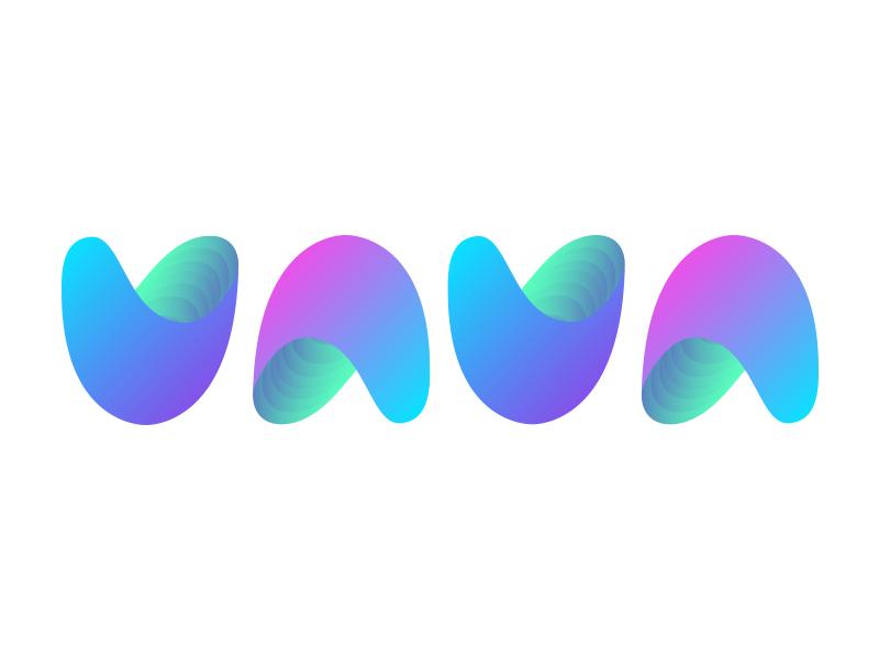 Vava ambigram ambigrama experiment a v letter gradient design mark illustrator logo