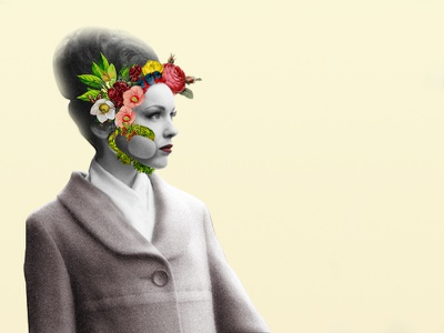 Woman vintage fashion nature plants flowers woman ilustration photoshop artcollage collage