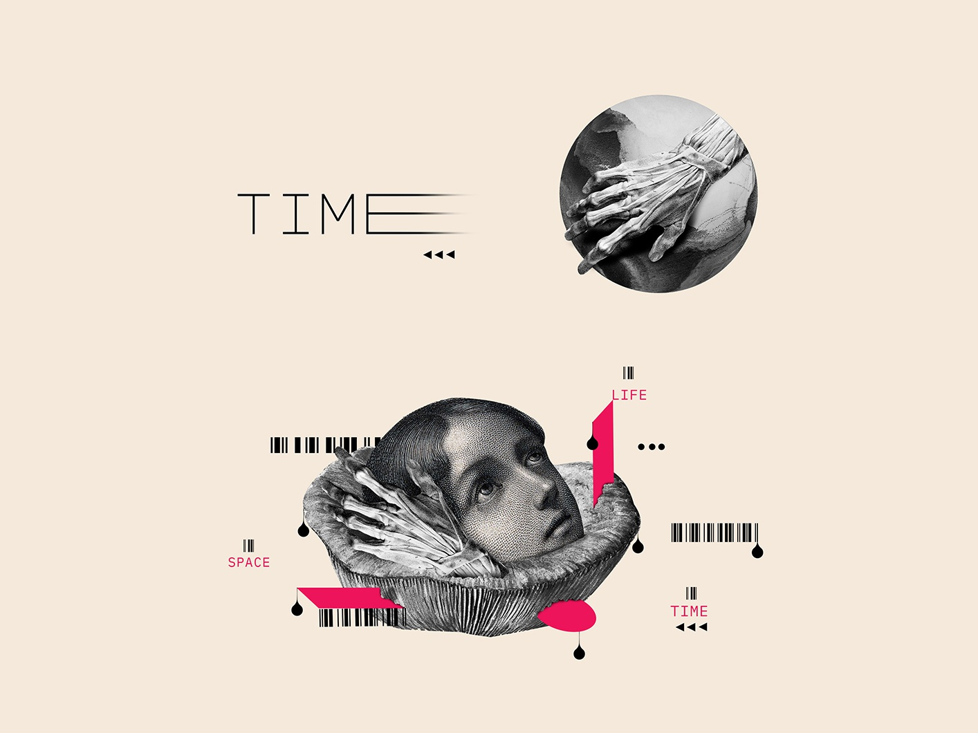 Space & Time | Collage Serie 007 abstract colors illustrator minimal nature dribbble art artcollage design photoshop illustration collage