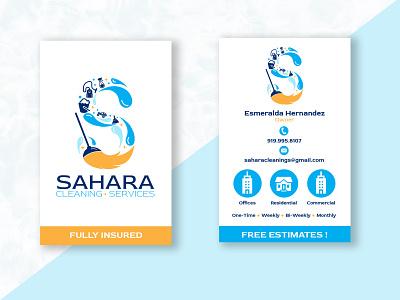 Sahara Cleaning Services Business Cards design business cards tarjetas logotipo tarjeta de presentacion diseno logo design branding business card design