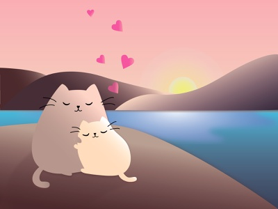 Happy Valentine's Day illustrator design picture sunset heart cats