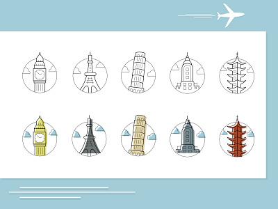 Travel icon set minimal illustrator website icon ui vector web illustration design