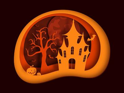 Halloween card web vector castle moon pumpkin halloween paper cut papercut illustrator illustration design
