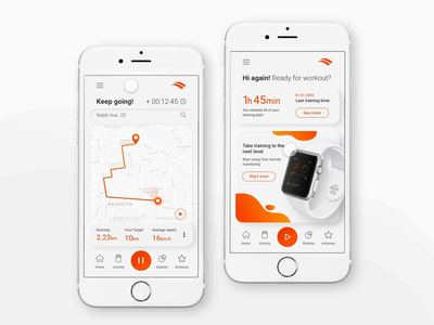 Sport activity tracking app with smartwatch activity apple watch design watch app interface interface design ux design ui prototype animation animation sport app sports design for running aplication training app training apple watch smartwatch running app tracking app sport