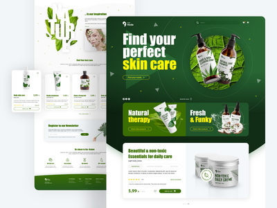 Landing Page for Natural cosmetics series hero section natural nature product product design ecommerce e commerce cosmetics leafs uidesign ui ux landing page interface add to cart green webdesign web