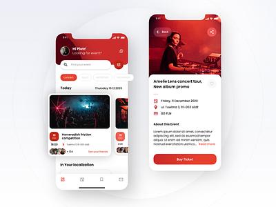 UI design for Event Application design entertainment app entertainment mobile mobile ui mobile app design concert techno clean ui user interface event red ticket app event app interface ux ui