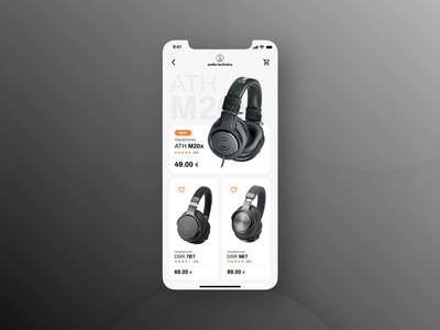 UI design for mobile version of Audiophile E-commerce minimalistic audio headphones black and white modern design aesthetic clean design music ui design interaction e-commerce app audiophile design ecommerce add to cart prototype animation animation interface ui