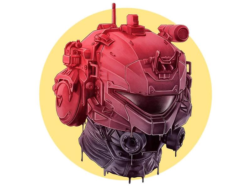 Helmet pencil fantastical futuristic melting helmet logo icon fantastic illustration figurative drawing draw design color art