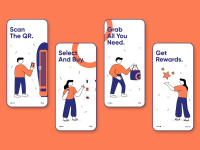 Orange and Blue | Onboarding Storytelling ui  ux android ios vector storytelling app illustration design onboarding adobe xd adobe photoshop adobe illustrator clean ui dribble ui
