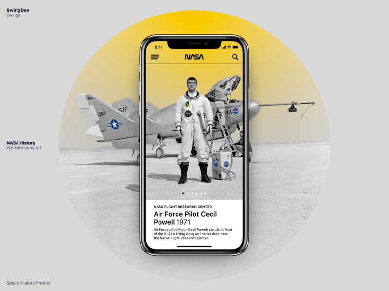 NASA History — Website Concept universe cosmos astronaut space grey yellow white web ui clear simple mobile design concept