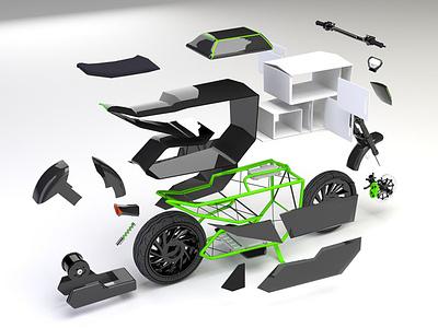 Two Wheeler EV (D-TRON) vray 3dsmax automotive design transportation design delivery service