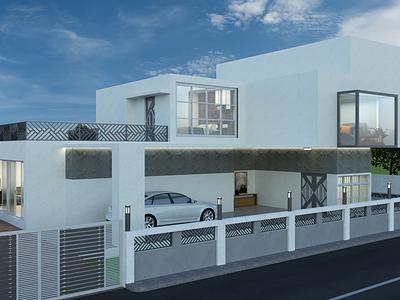 Bungalow interior rendering architectural design