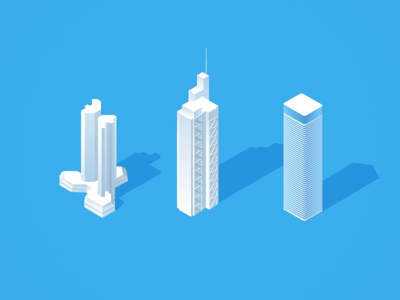 Towers isometric illustration skyscrapers towers illustrator grid vector london tower twin frankfurt