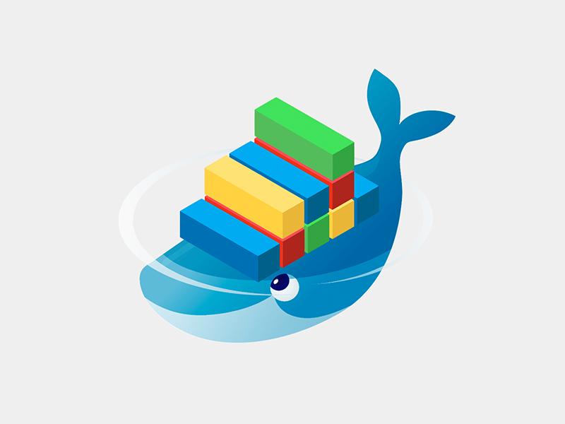 Docker illustrator mammal water container shipping colours isometric whale environment logo docker