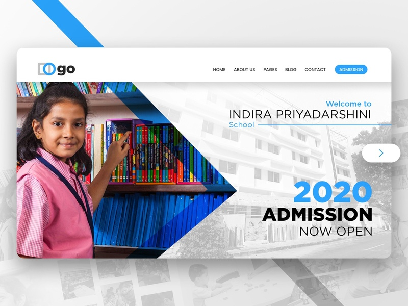 Hero Section for website blue school home page banner hero section website design website design illustration typography logo branding ui
