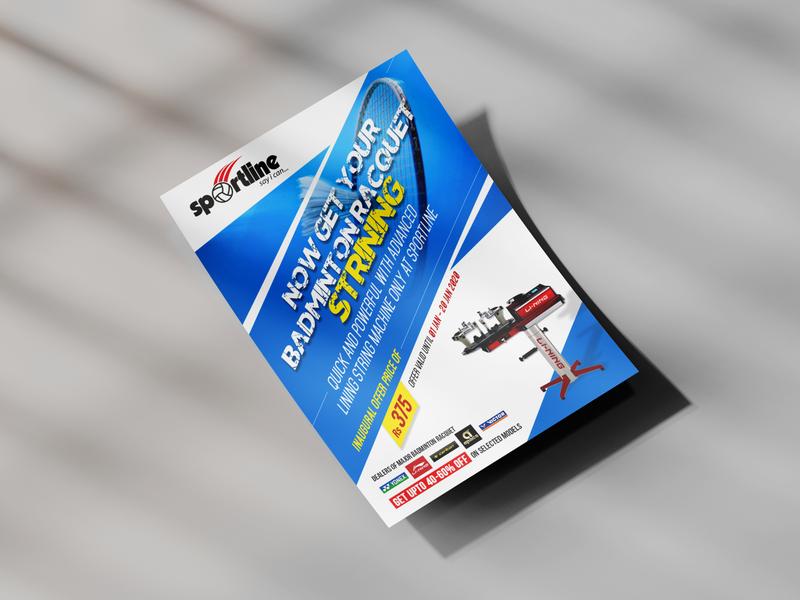 Flyer Design for offer chennai designer tennis sports branding offer sports design blue badminton sport branding business design