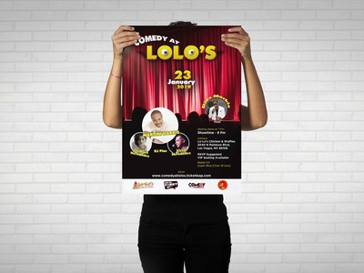 Event Poster Design standup comedy stage show live show martini harris lolo show comedy typography design