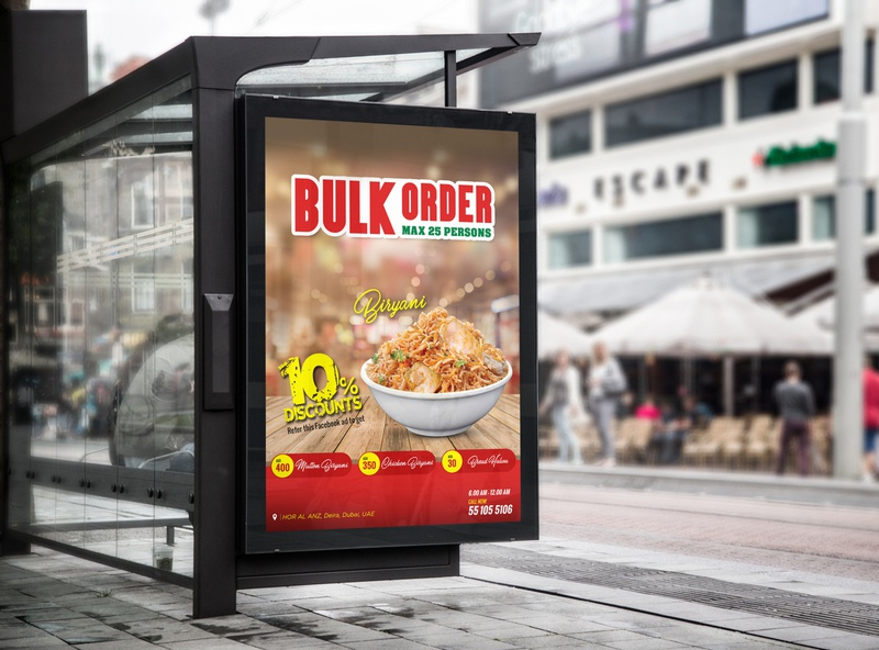 Billboard for Restaurant biryani food and drink hotel shop restaurant typography food red business design
