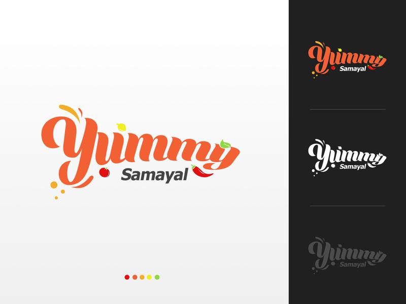 Logo for Yummy Samayal restaurant logo vector foodie yellow green red orange tamil blog samayal cool colors warm colors yummy food illustration blog branding website food