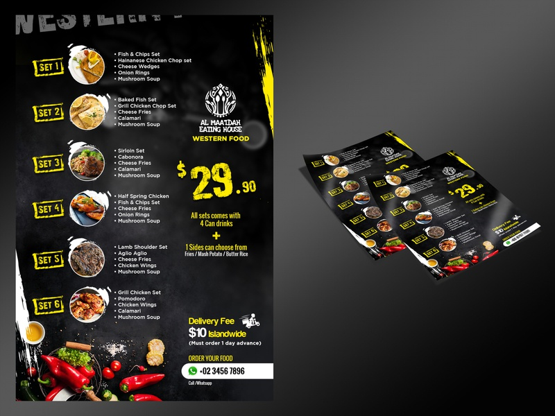 Restaurant Offer Menu western food highlight black dark restaurant shop food typography branding design business