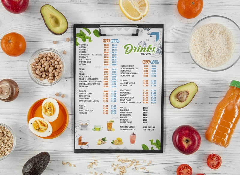 Drinks Menu Card Design cool and hot summer drinks restaurant food shop design typography branding business