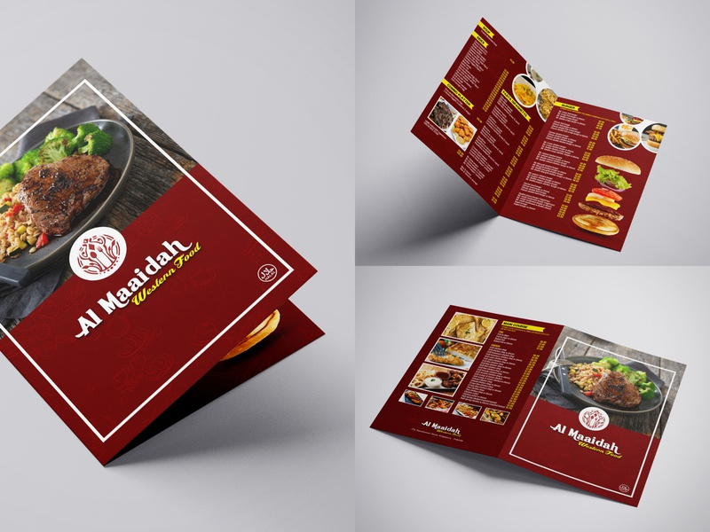 Food Menu Card for Al Maaidah restaurant western food menu design menu card shop red food typography branding business