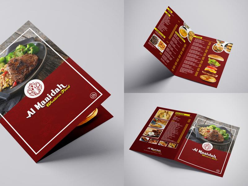 Food Menu Card for Al Maaidah restaurant western food menu design menu card shop red food typography branding business
