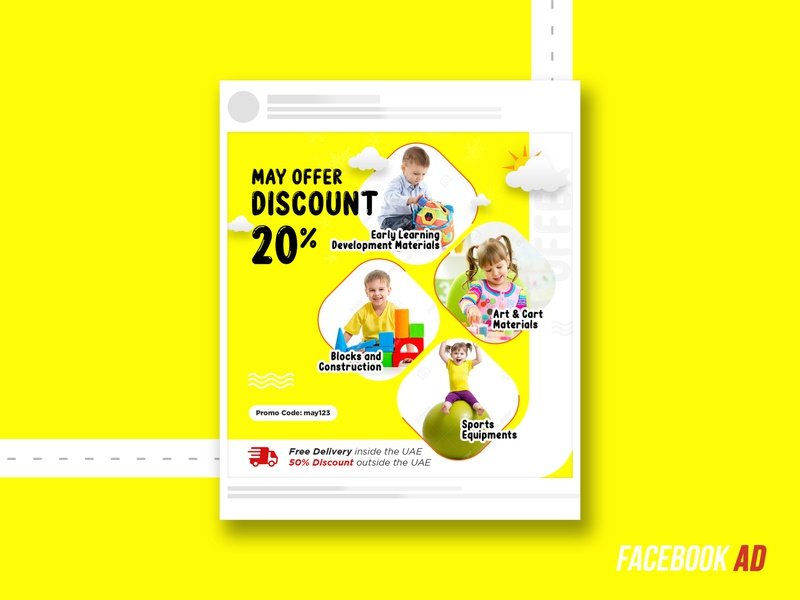 Offer Ad for social media offer ad kids play yellow facebook ad kids play shop illustration business branding