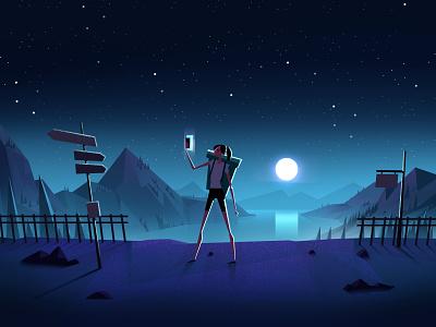 Selfie phone selfie character 2d animation night landscape dark motion illustration design