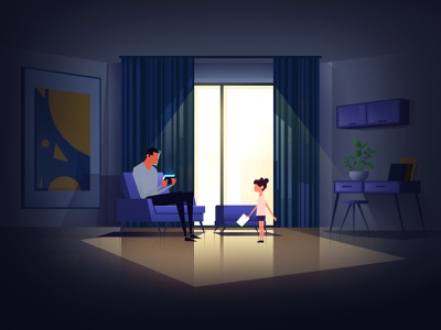 Fathers and Doughters game paint character 2d animation dark motion illustration design
