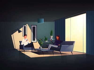 Couple Field sadness sad negative character 2d animation dark motion illustration design